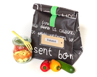 Lunchbag/ bread bag/ black and white/ panel fabric/ coated cotton/ with lining/ water-repellent