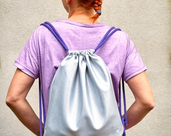 Silver backpack, synthetic leather, sports bag, with inner pocket, cotton straps