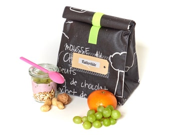 Lunch bag, bread bag, black and white, table fabric, coated cotton, water repellent