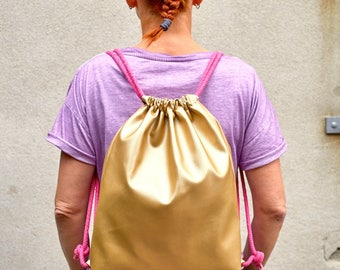 Golden Backpack, sports bag, synthetic leather, with lining