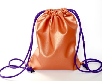 Backpack copper-metallic, faux leather, lining pink, purple straps, from favorite cuts