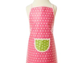 washable apron/ pink children's apron/ coated cotton/ cooking apron/ baking apron/ craft apron