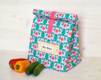 Lunch bag, bread bag, green frogs, coated cotton, water-repellent