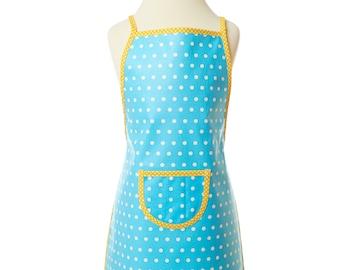 Turquoise children's apron/ washable apron/ children's apron/ craft apron/ cooking apron/ play apron/ coated cotton