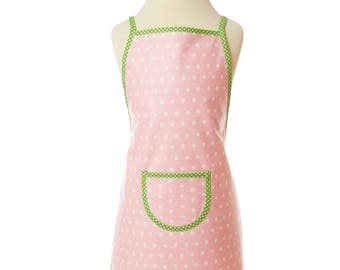 Pink Apron/washable child apron/coated cotton/back apron/Cooking apron/Craft Apron
