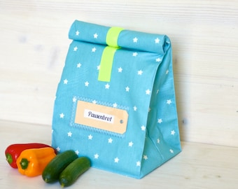 Lunchbox, bread bag, turquoise, white asterisks, coated cotton