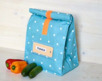 Lunchbox, bread bag, turquoise, white asterisks, coated cotton, water repellent