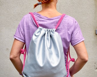 Silver Backpack/Sports bag/Artificial leather/metallic/pink Carrier