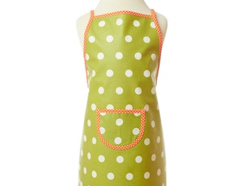 Apron/olive with white dots/washable child apron/back apron/shopping/cooking apron/game apron/coated Cotton