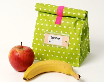Bread bag, water-repellent, kiwi with white dots