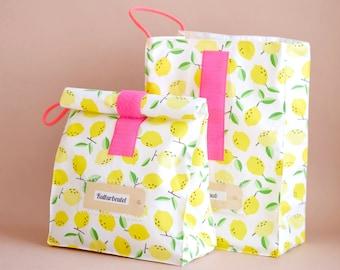 Lunchbag large, breakfast bag, toiletry bag, yellow lemons, coated, water repellent