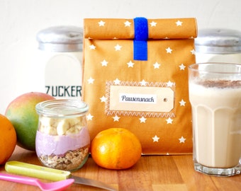 Lunchbag for breakfast on the go, water-repellent, okka with asterisks