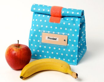 Lunchbag/ bread bag/ turquoise with small dots/ orange Velcro/ water-repellent/ coated cotton