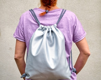 Backpack/Silver/artificial Leather/Metallic