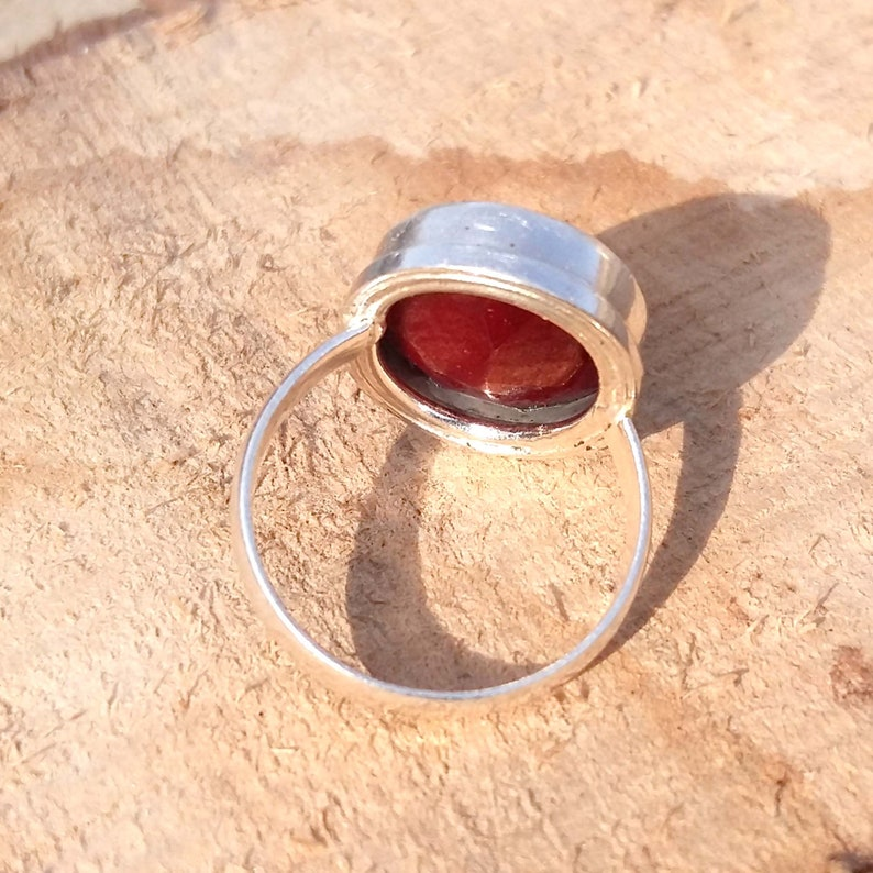 925 Sterling Silver Ring birthstone Ring Natural RED RUBY gemstone ring Handmade Ring Oval Faceted Gemstone Ring gift Jewelry Ring
