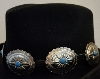 762c10f6088 Custom leather hatband with conchos