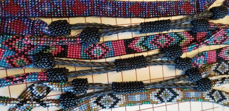 5d2fcb29a72 Seed bead and horse hair hat band, new vintage stock, handmade woven seed  bead band, braided horse hair, tassels, western cowboy boho