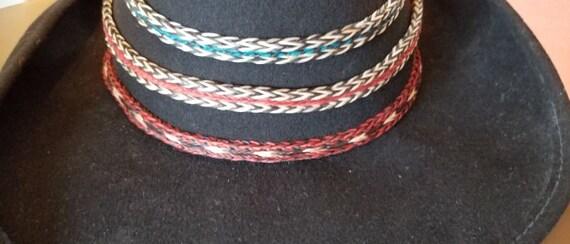 6199f4a01c3 Braided horse hair hat band 3 inch tassels handmade lovely