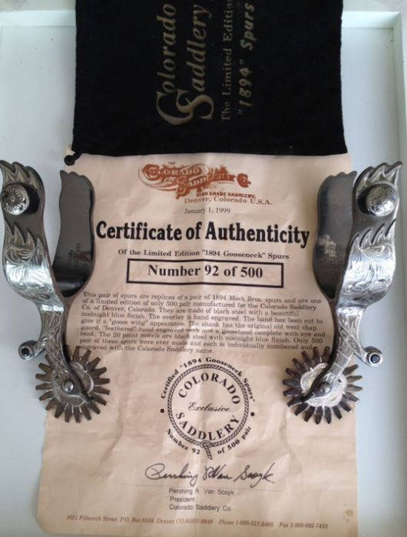 Limited edition 1894 gooseneck spurs with silver wings, Colorado Saddlery  certificate authenticity, hand made engraved, Mock Bros