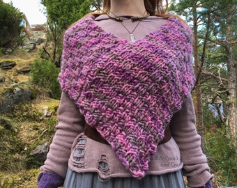 Pink and Purple Knitted Poncho