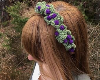 Crocheted Purple Berry Headpiece