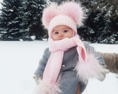 Baby Kids Girl Boys Kid Pom Pom Wool Fur Cute Winter Pink Blue White Grey Hat and Scarf set
