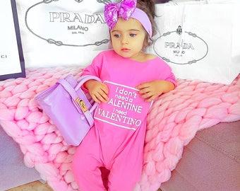 9589c9b65 Baby girl kids cute pink valentines day funny onesie off shoulder fashion  romper