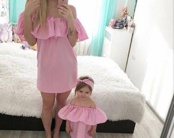 Mommy and Me matching summer vacation cute off shoulder girls dresses with headbands