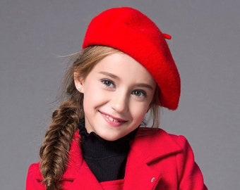 Baby Girls wool hat beret red white pink black cute winter children hat d79fe0b6b03