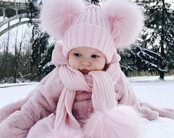 Baby Kids Girl Boys Kid Pom Pom Wool Fur Cute Winter Pink Blue White Grey Hat and Scarf set !
