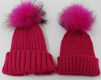46b7337d01d49 Mommy and Me matching winter wool fur pom pom cute boys girls hat gray  white pink red beige
