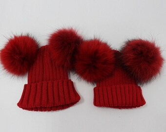 2f073105799ef3 Mommy and me matching wool winter fall hats double pom pom fur cute pink  red blue white