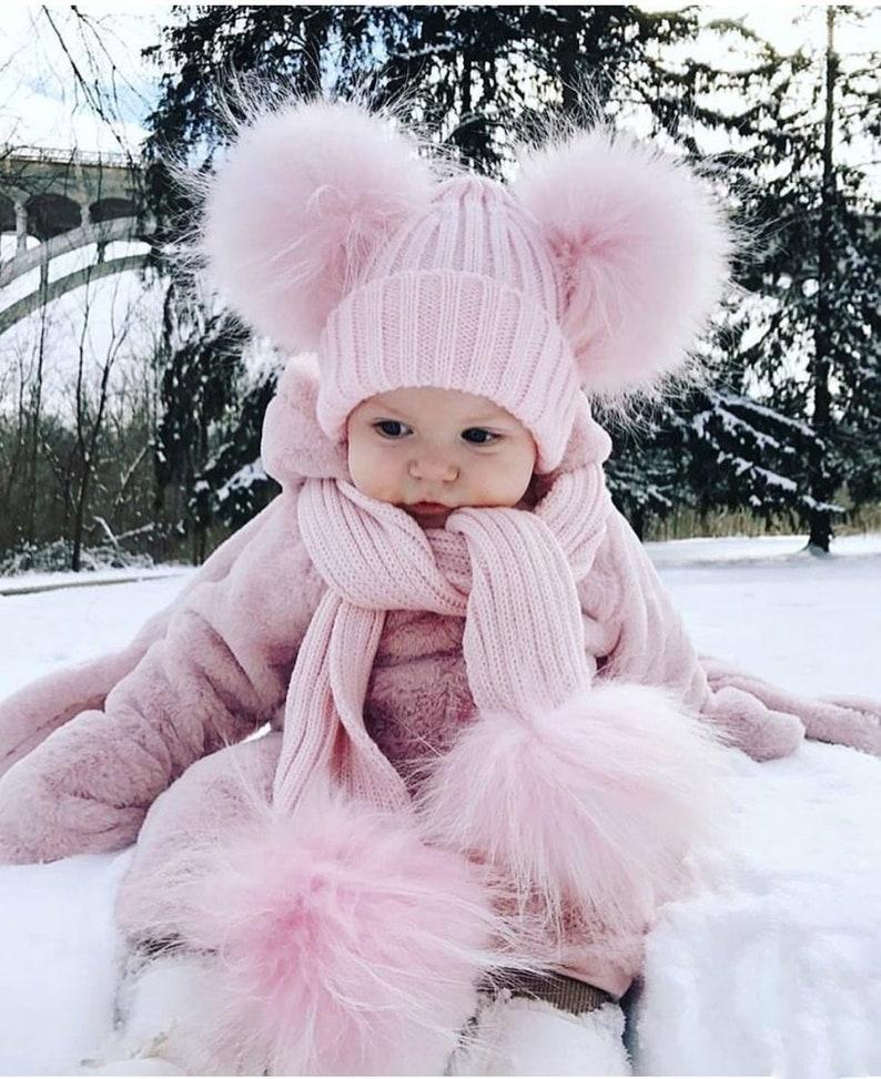 Baby Kids Girl Boys Kid Pom Pom Wool Fur Cute Winter Pink Blue image 1