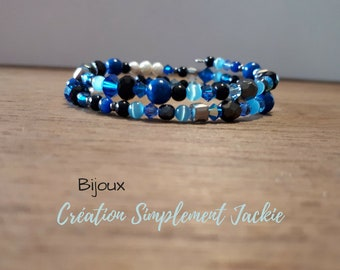 Serpentine bracelet, blue and black