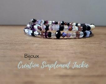 Serpentine bracelet, black and purple