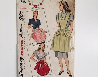 Vintage 1940s Simplicity 1838 Half and Full Aprons with Novelty Pockets Size Medium Sewing Pattern