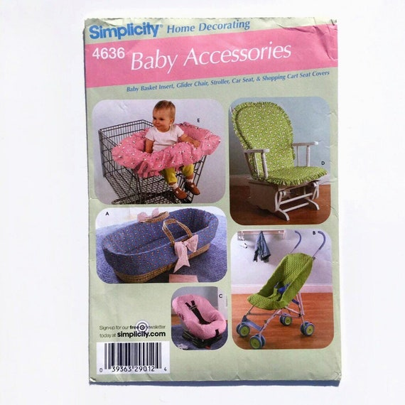 Simplicity 4636 Baby Accessories Basket Car Seat Cover Umbrella Stoller Cover and Glider presented by Donellensvintage