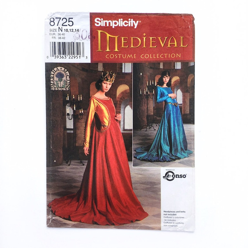 Simplicity 8725 Medieval 14th Century Sideless Surcote Dress Costume 10-14  Uncut Sewing Pattern