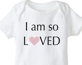 I am so loved baby onesie, cute onesie, baby shower onesie, baby boy bodysuit, baby girl shirt, so loved, you are so loved, heart onesie