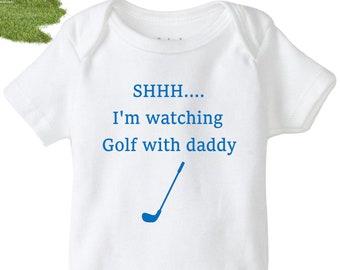 eb0b4aef9 Baby Golf onesie®, shhh I'm watching golf with daddy, golfing baby bodysuit,  funny baby shirt, unisex baby onesie®, Golf baby shower gift