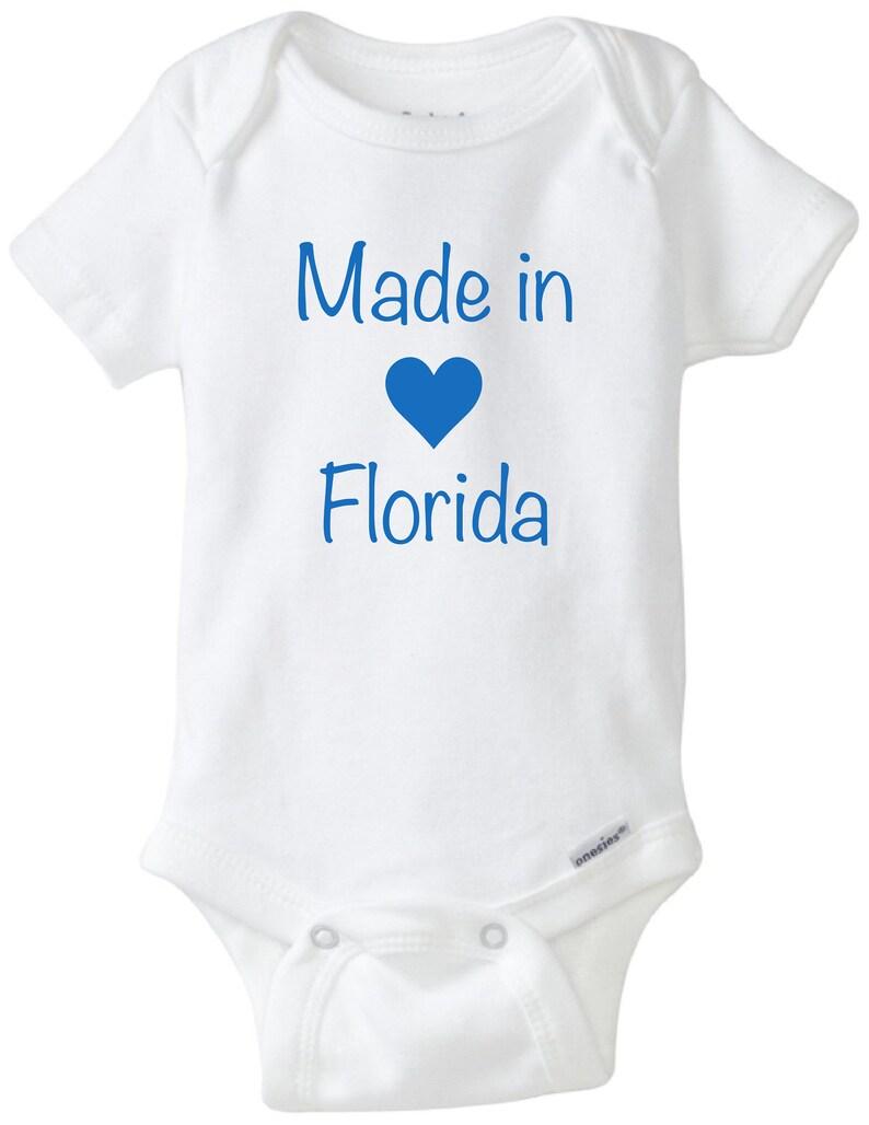 baby shower gift funny shirt unisex baby shirt made in Florida state bodysuit newborn baby shirt State baby onesie\u00ae cute baby onesie\u00ae
