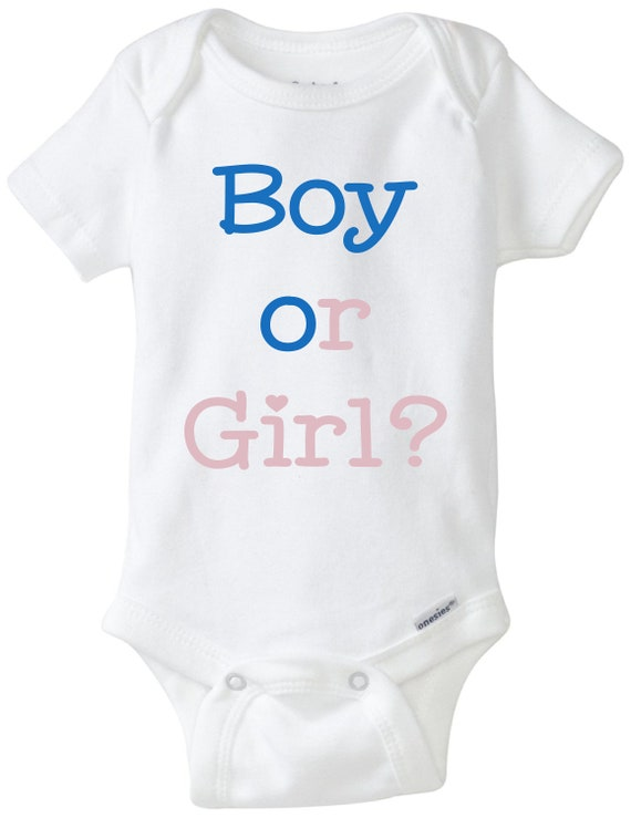 3bab864199415 Gender reveal baby onesie, gender reveal onesie, boy or girl, pregnancy  announcement, baby bodysuit, we are pregnant shirt, newborn onesie