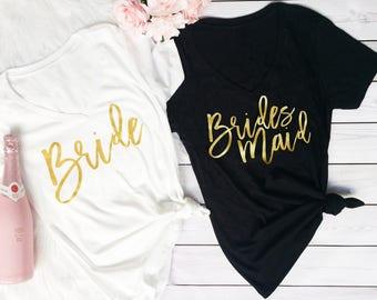 Bridesmaid TShirt - bride Tshirt - Maid of Honor Tshirt - Bride Shirt - Bridal Party Shirts - Wedding Party Shirt - Bridesmaid Proposal