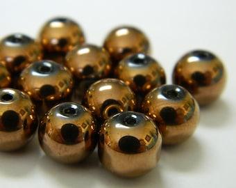 Plated Electric Bronze Mardi Gras Glass Beads - New Orleans Carnival Beads - 10 Glass Beads Per Order - Detash Emporium