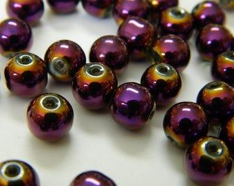 Plated Electric Purple Mardi Gras Glass Beads - New Orleans Carnival Beads - 10 Glass Beads Per Order - Detash Emporium