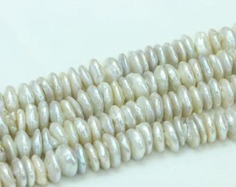 13-14mm coin pearl strings,natural white pearl beads,flat round fresh water pearl.