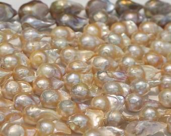 Flameball pearl, Edison pearl,large pearl strings,baroque pearl,irregular pearl,natural color.