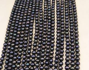 AA 7-8mm Black Near Round Pearl ,Potato freshwater pearls, natural pearl,deep blue freshwater pearl,diy craft supplies