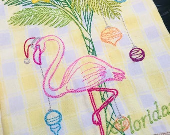 Happy Floridays Embroidered Kitchen Towel - Dish Towel - Tea Towel - Holidays - Christmas