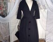 Vintage 50 39 s black, button down, cotton coat dress or dress coat